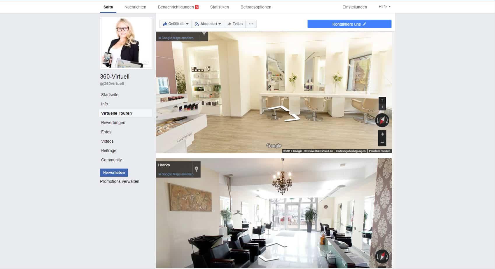 360 Grad Rundgang durch ein Friseursalon bei Facebook