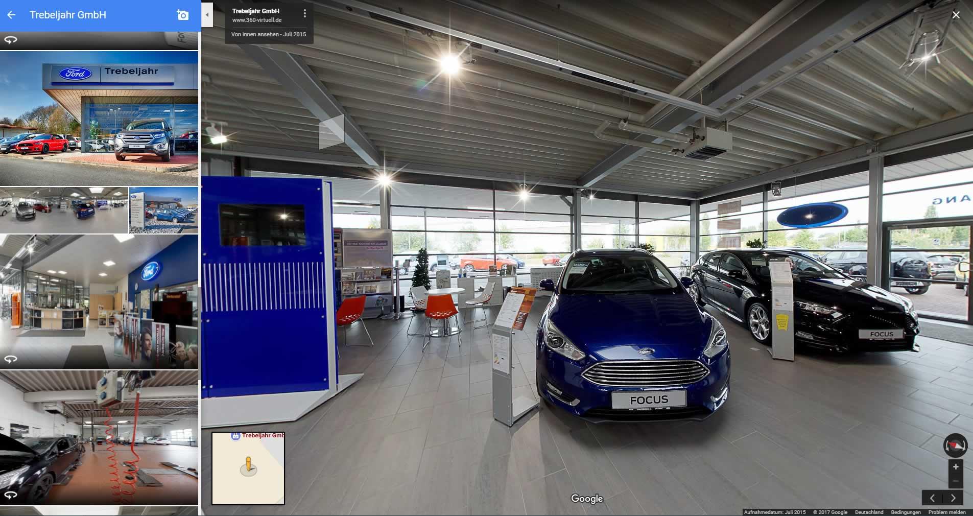Virtueller Autohaus Rundgang für Google Maps