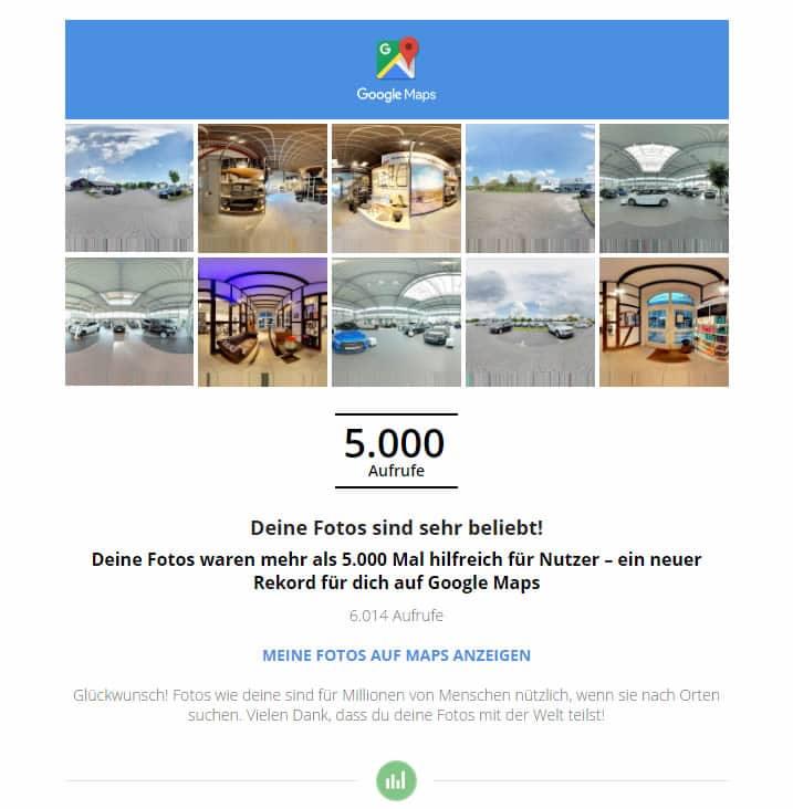 Google Maps 360 Grad Bild Statistik