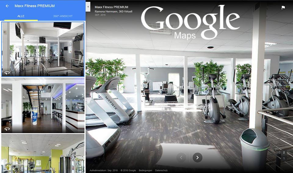 Google Maps Fitness Studio Virtuelle Ansicht
