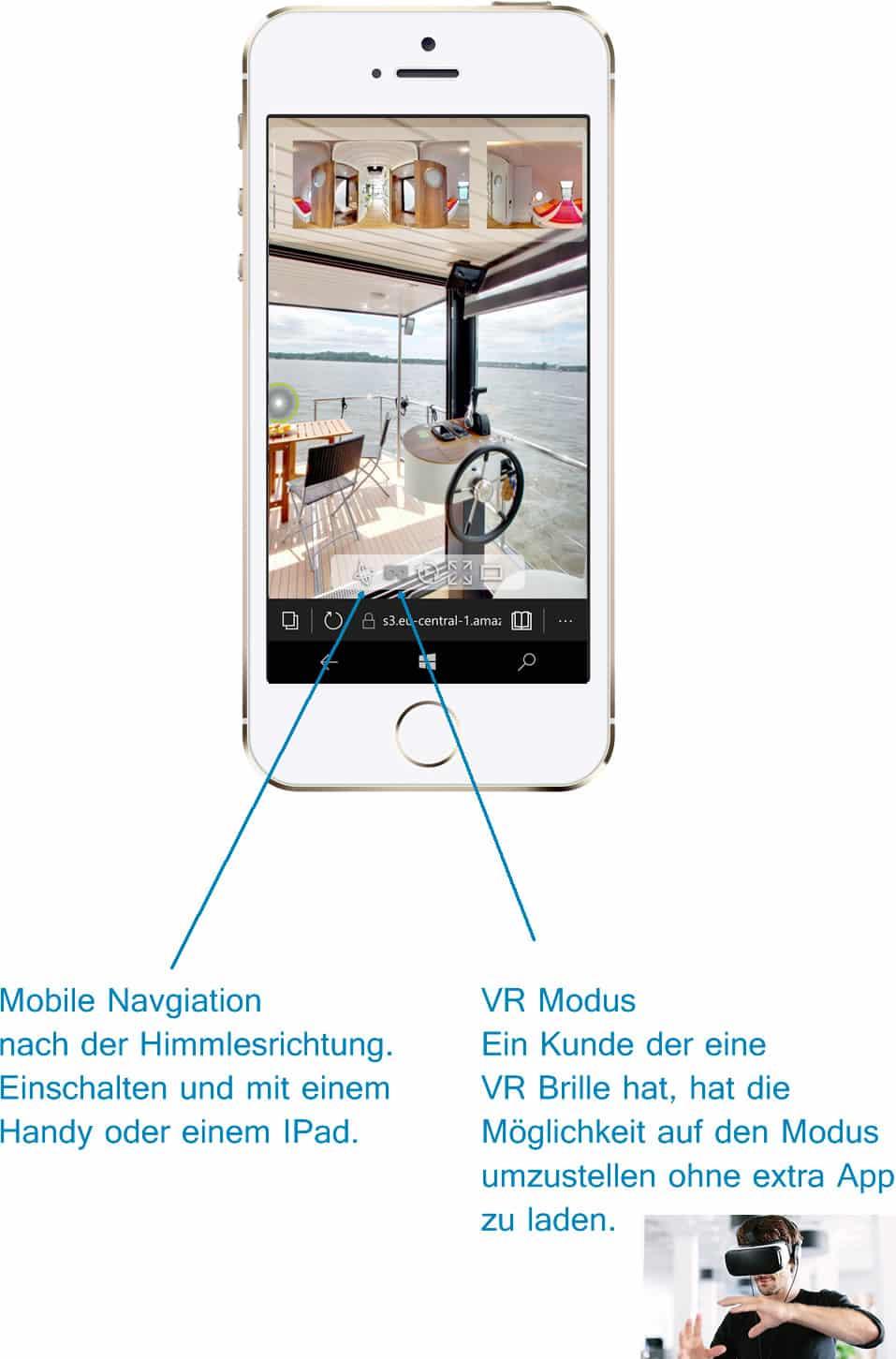 Virtuelle Tour für die Website mit Mobiler Ansicht und VR Brillen Feature