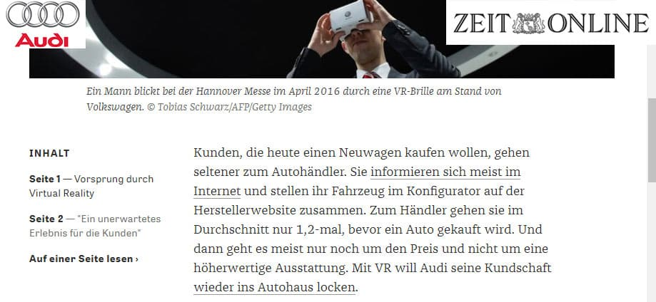 artikel über audi und virtuelle realität für autohäuser von die zeit.de