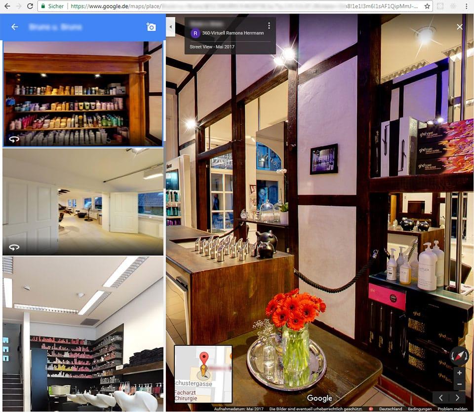 Werbung mit einem Virtuellen Rundgang für den Kosmetik oder Friseursalon