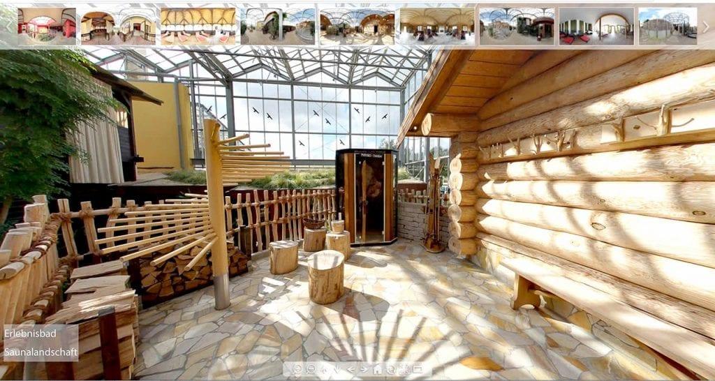 360 Grad Tour durch eine Spa und Sauna.