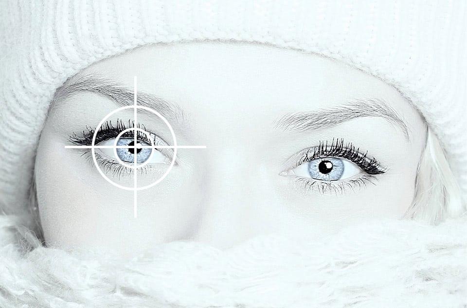 Frau Augen Symbol für Eye Tracking