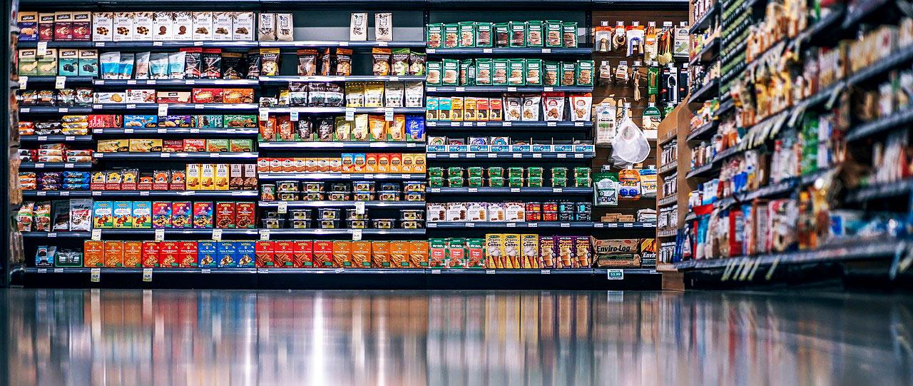 Online Marketing mit 360° und VR Virtual Reality z.B. in einem Supermarkt.