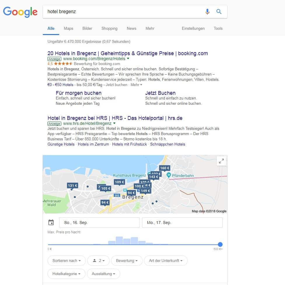 Google Maps 360 Grad Hotel Suche