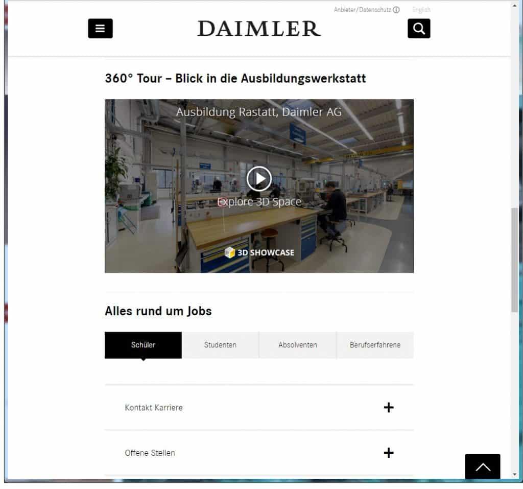 Damiler Virtual Reality für die Ausbildung. 360° Tour durch den Ausbildungsbetrieb.