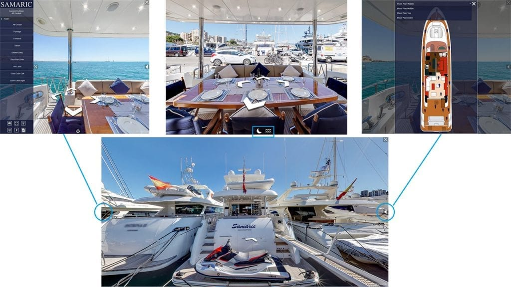 VR Virtual Reality Navigation for 360 degree Yacht view