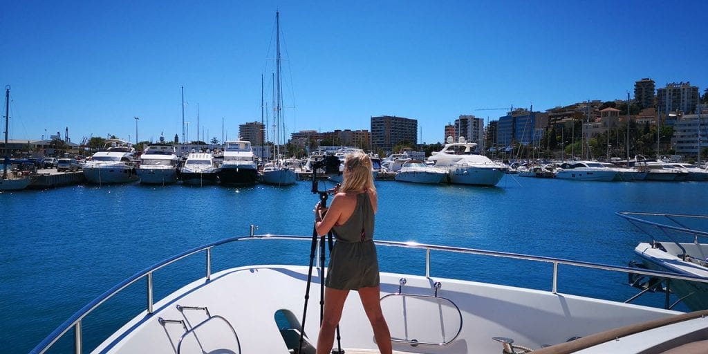 Shooting auf Mallorca für einen 360 Grad virtuellen Rundgang einer Yacht. Yacht Club de Mar Mallorca